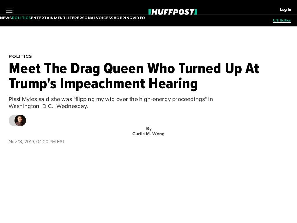Meet The Drag Queen Who Turned Up At Trump's Impeachment Hearing