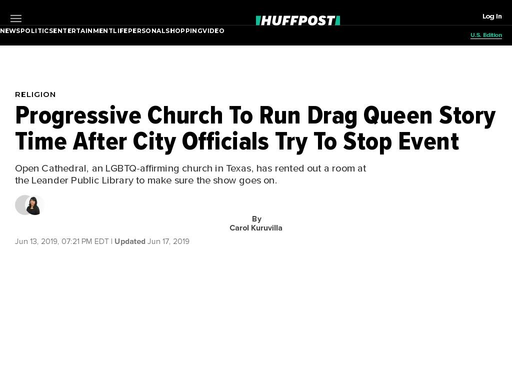 Progressive Church To Run Drag Queen Story Time After City Officials Try To Stop Event