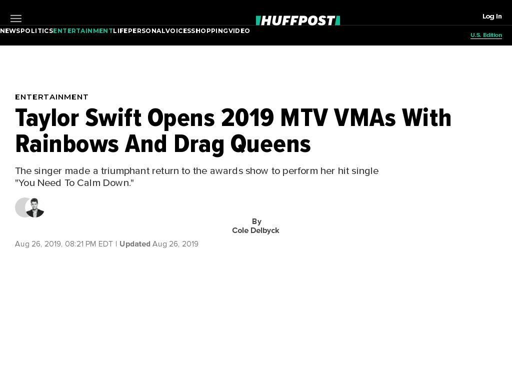 Taylor Swift Opens 2019 MTV VMAs With Rainbows And Drag Queens